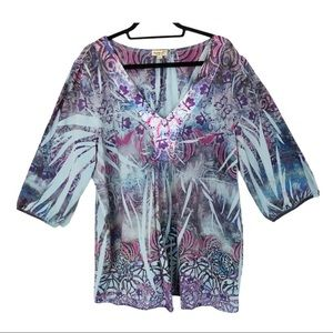 One World Plus Size 3/4 Sleeve Tunic Top
